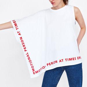 NWT Zara Asymmetric Text One Shoulder Sleeve Top